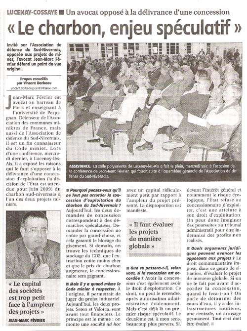 Article du 24/10/08 sur la mine de charbon